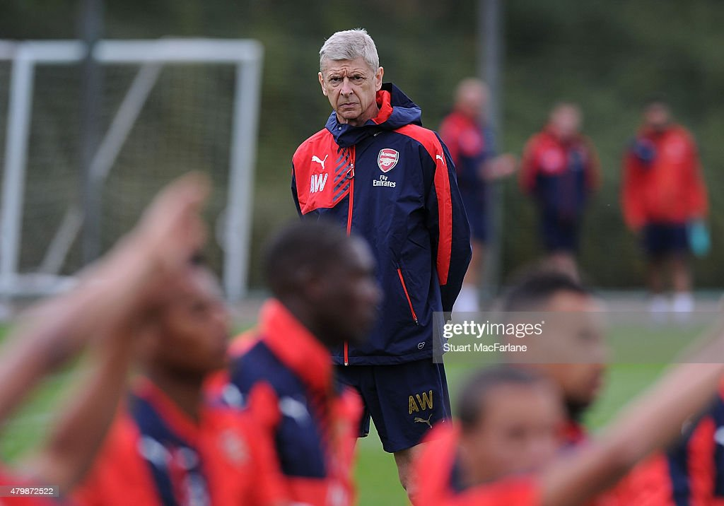 Arsenal manager Arsene Wenger during a training session at London Colney on July 8, 2015 in St Albans, England.