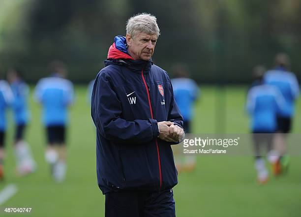Arsenal manager Arsene Wenger during a training session at London Colney on April 27 2014 in St Albans England