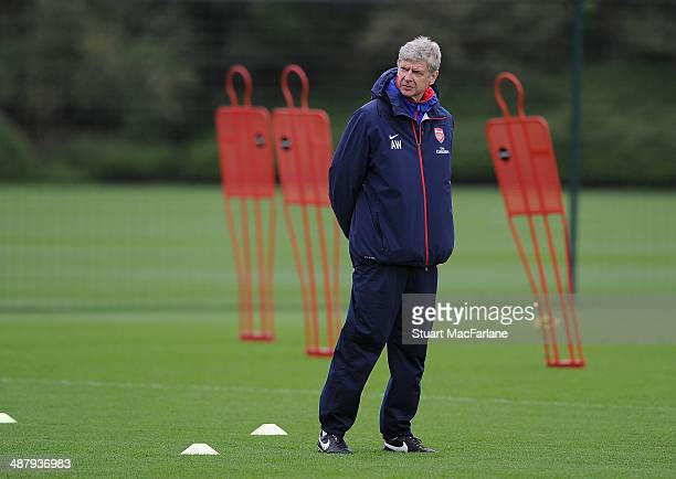 Arsenal manager Arsene Wenger during a training session at London Colney on May 3, 2014 in St Albans, England.