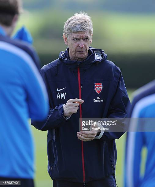 ALBANS ENGLAND MAY 3 Arsenal manager Arsene Wenger during a training session at London Colney on May 3 2014 in St Albans England