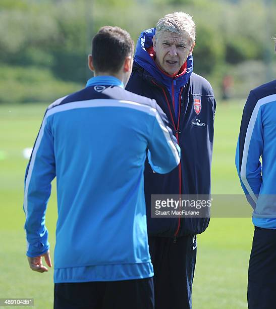 Arsenal manager Arsene Wenger during a training session at London Colney on May 10 2014 in St Albans England