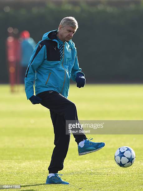 Arsenal manager Arsene Wenger during a training session at London Colney on November 23 2015 in St Albans United Kingdom