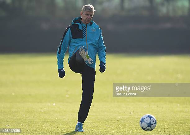 Arsenal manager Arsene Wenger during a training session at London Colney on November 23 2015 in St Albans United Kingdom