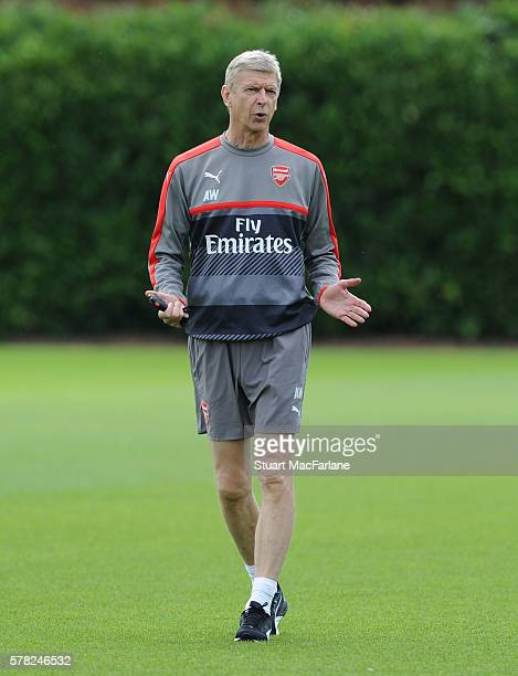 Arsenal manager Arsene Wenger during a training session at London Colney on July 21 2016 in St Albans England