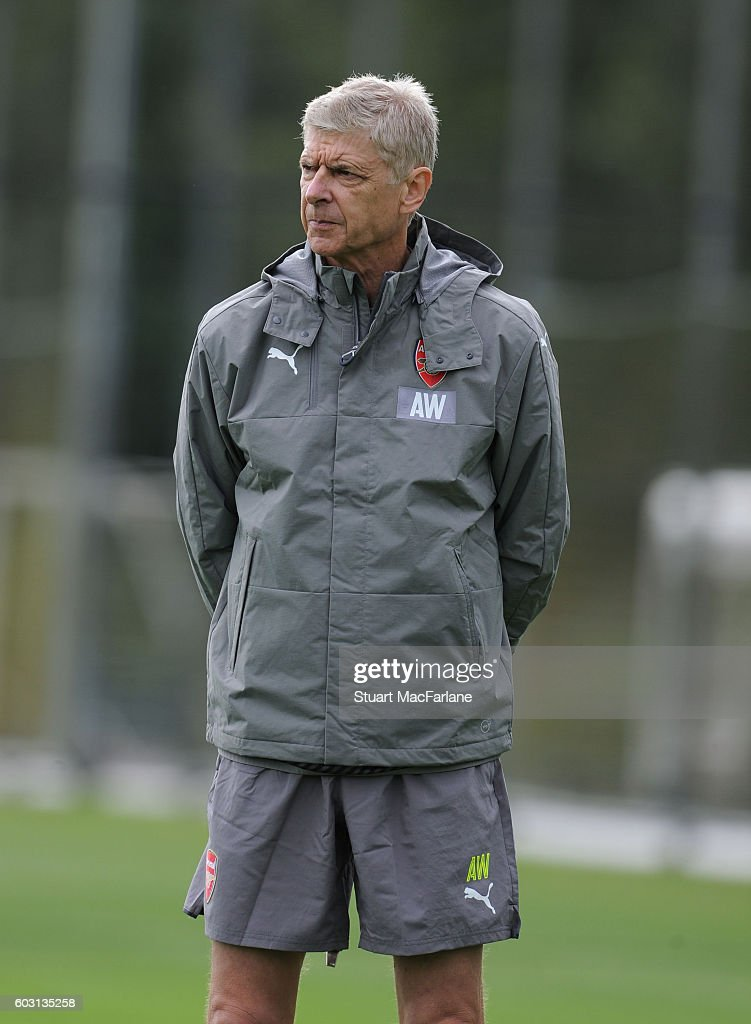 Arsenal manager Arsene Wenger during a training session at London Colney on September 12, 2016 in St Albans, England.