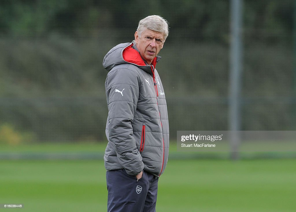 Arsenal manager Arsene Wenger during a training session at London Colney on October 21, 2016 in St Albans, England.