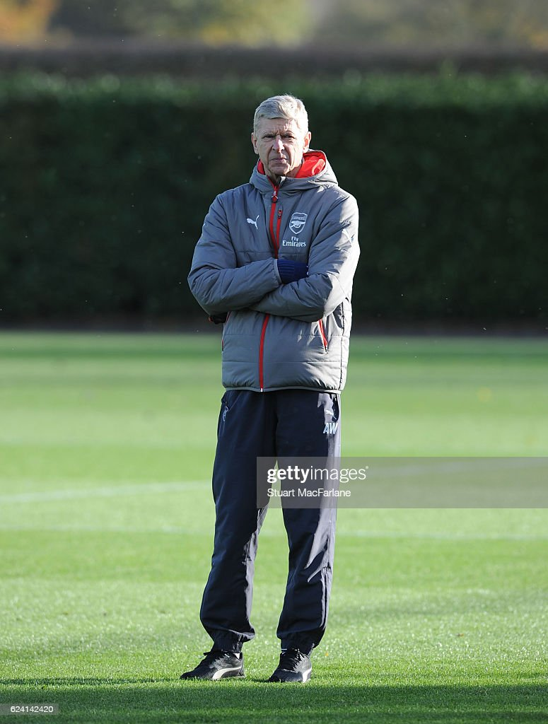 Arsenal manager Arsene Wenger during a training session at London Colney on November 18, 2016 in St Albans, England.