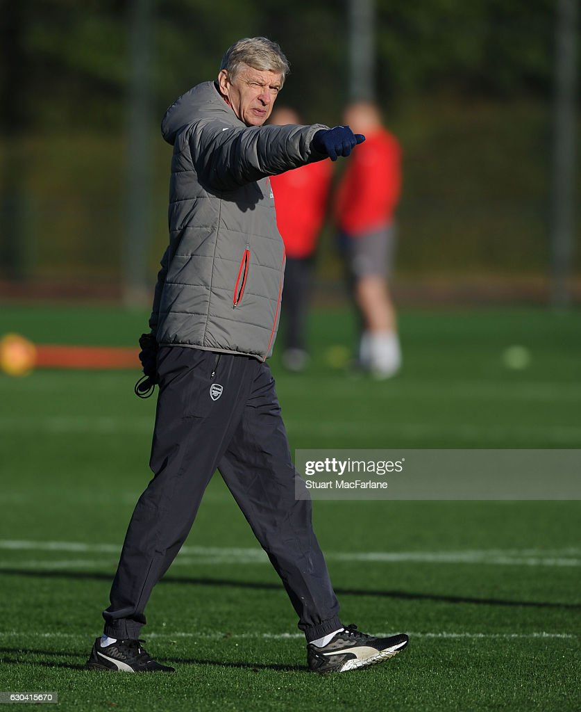 Arsenal manager Arsene Wenger during a training session at London Colney on December 22, 2016 in St Albans, England.