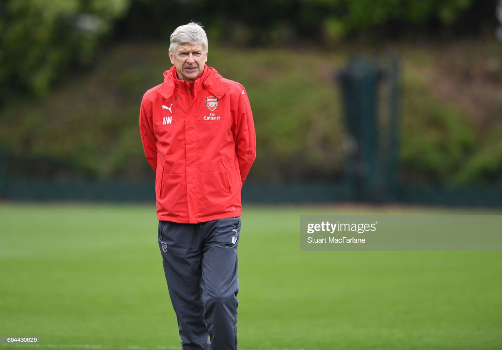 Arsenal manager Arsene Wenger during a training session at London Colney on April 4, 2017 in St Albans, England.
