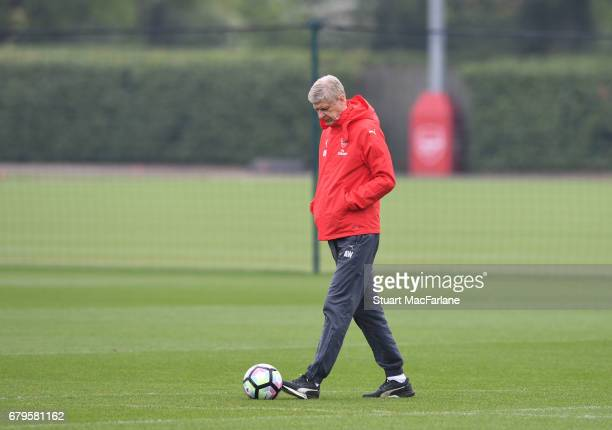 Arsenal manager Arsene Wenger during a training session at London Colney on May 6 2017 in St Albans England