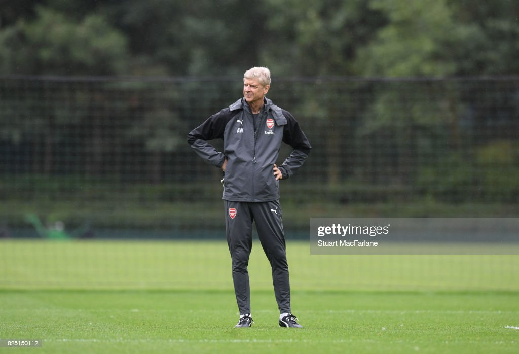Arsenal manager Arsene Wenger during a training session at London Colney on August 1, 2017 in St Albans, England.