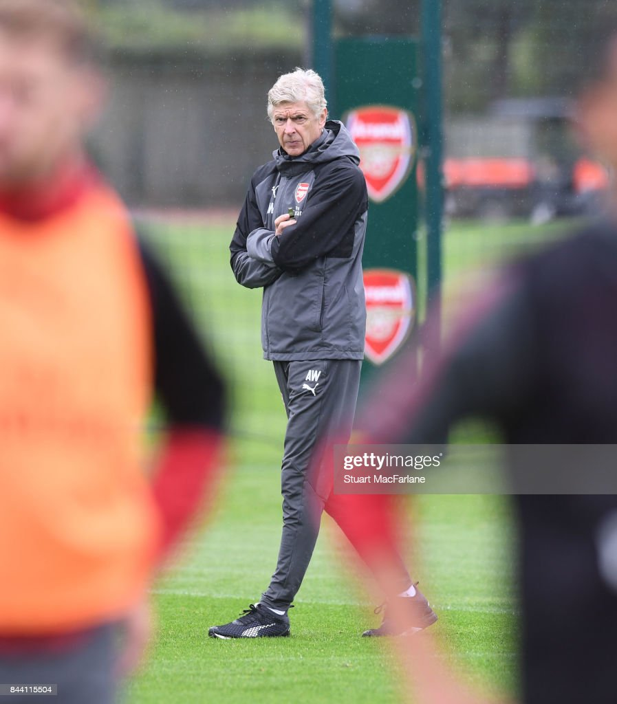 Arsenal manager Arsene Wenger during a training session at London Colney on September 8, 2017 in St Albans, England.