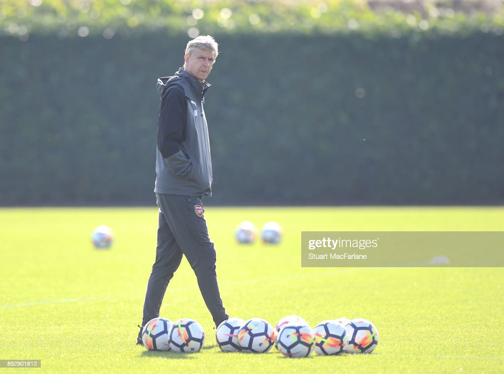 Arsenal manager Arsene Wenger during a training session at London Colney on September 24, 2017 in St Albans, England.