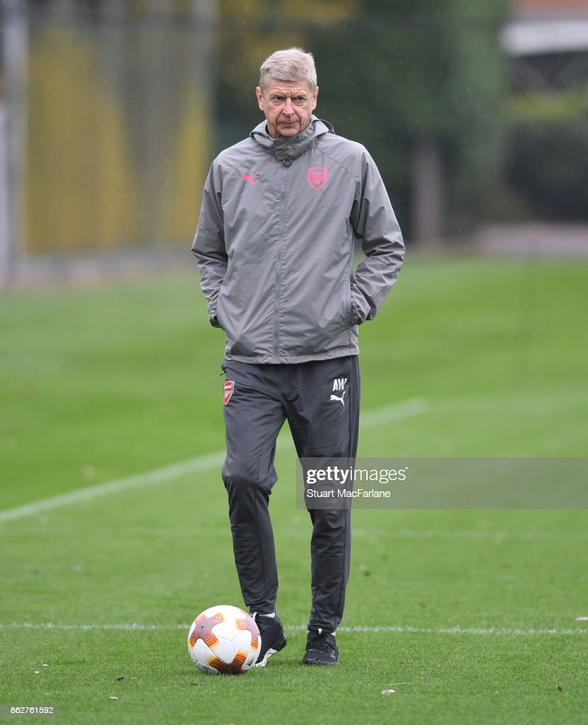 Arsenal manager Arsene Wenger during a training session at London Colney on October 18, 2017 in St Albans, England.