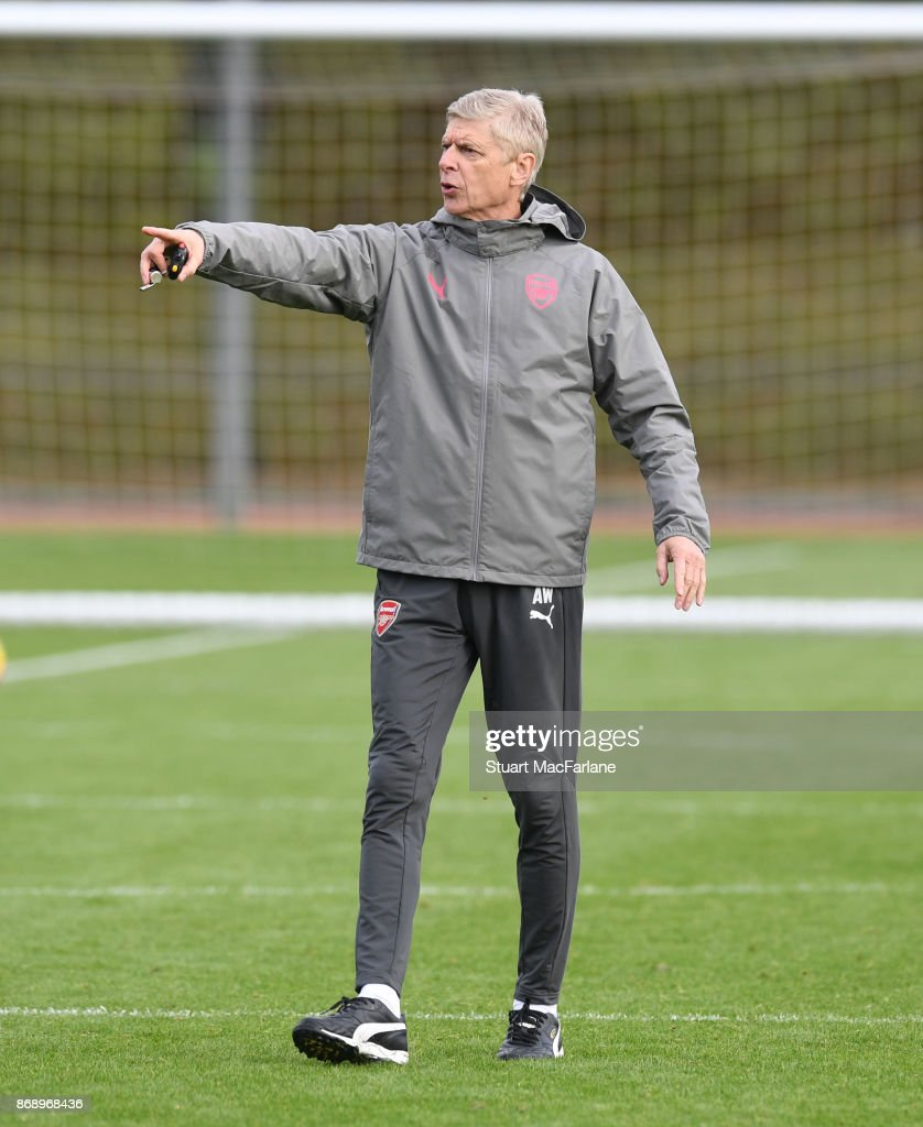 Arsenal manager Arsene Wenger during a training session at London Colney on November 1, 2017 in St Albans, England.