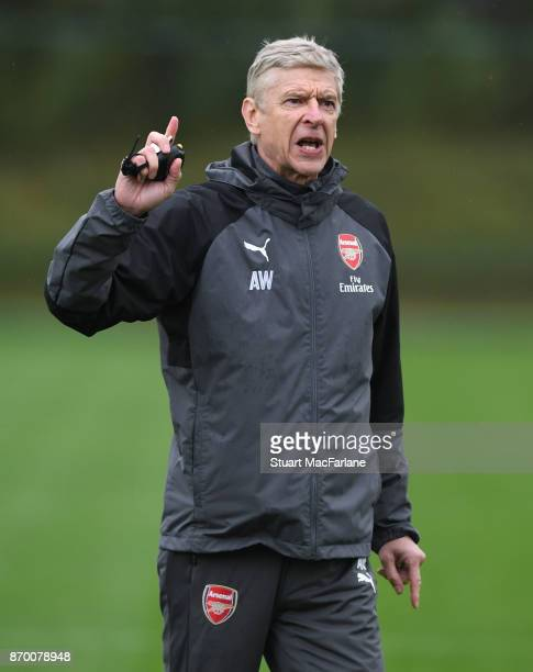 Arsenal manager Arsene Wenger during a training session at London Colney on November 4 2017 in St Albans England