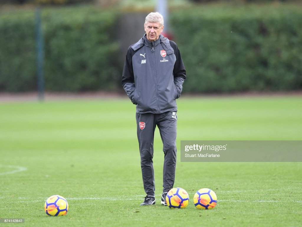 Arsenal manager Arsene Wenger during a training session at London Colney on November 14, 2017 in St Albans, England.