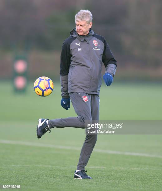 Arsenal manager Arsene Wenger during a training session at London Colney on December 30 2017 in St Albans England