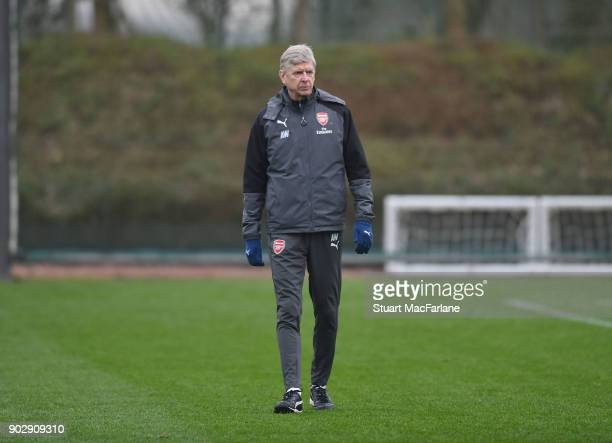 Arsenal manager Arsene Wenger during a training session at London Colney on January 9 2018 in St Albans England
