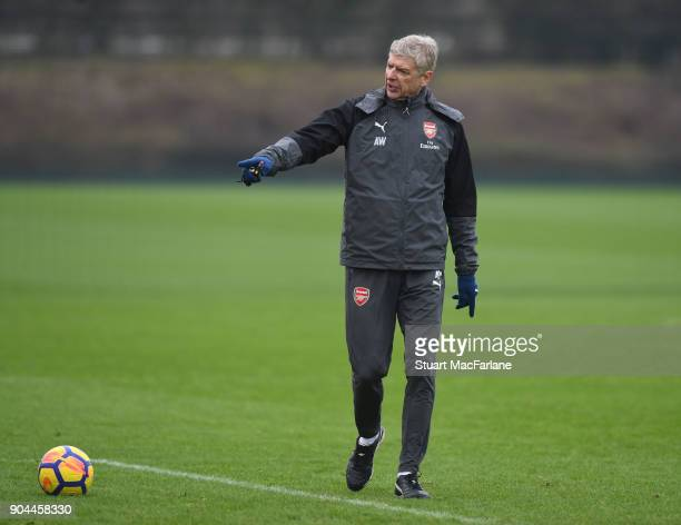 Arsenal manager Arsene Wenger during a training session at London Colney on January 13 2018 in St Albans England
