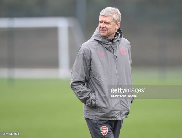 Arsenal manager Arsene Wenger during a training session at London Colney on February 21 2018 in St Albans England