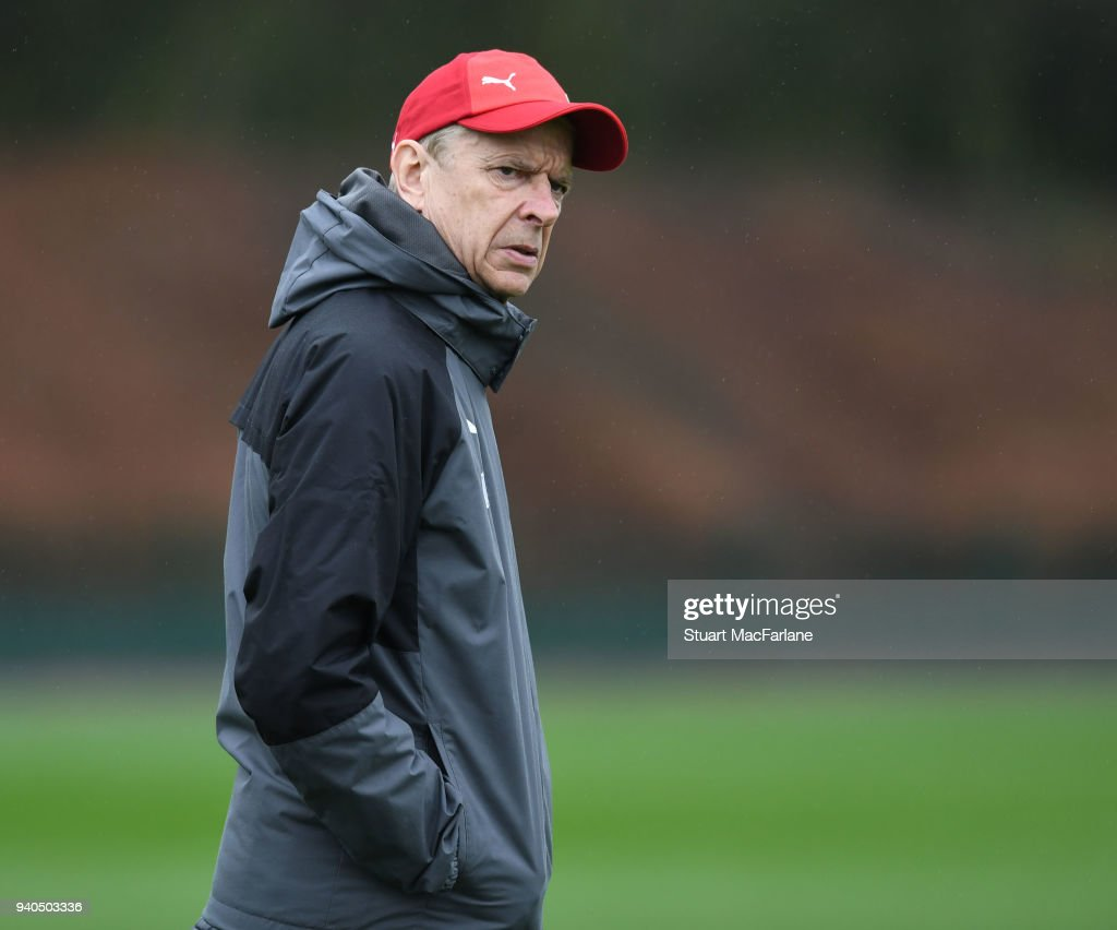 Arsenal manager Arsene Wenger during a training session at London Colney on March 31, 2018 in St Albans, England.