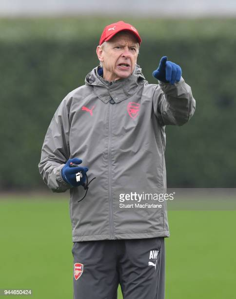 Arsenal manager Arsene Wenger during a training session at London Colney on April 11 2018 in London England