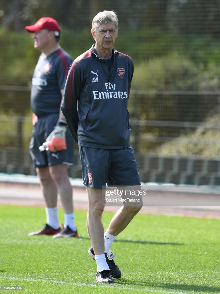 Arsenal manager Arsene Wenger during a training session at London Colney on April 21, 2018 in St Albans, England.