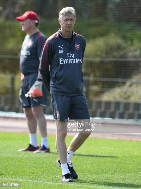 Arsenal manager Arsene Wenger during a training session at London Colney on April 21 2018 in St Albans England