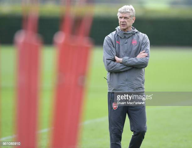 Arsenal manager Arsene Wenger during a training session at London Colney on April 25 2018 in St Albans England