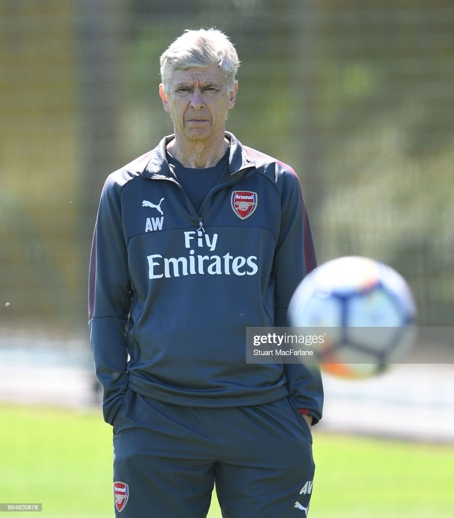 Arsenal manager Arsene Wenger during a training session at London Colney on May 5, 2018 in St Albans, England.