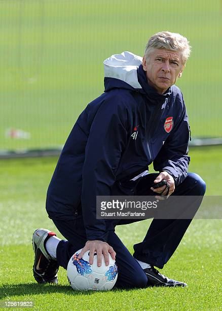 Arsenal manager Arsene Wenger during a training session at the club's London Colney training ground on September 19, 2011 in St Albans, England.