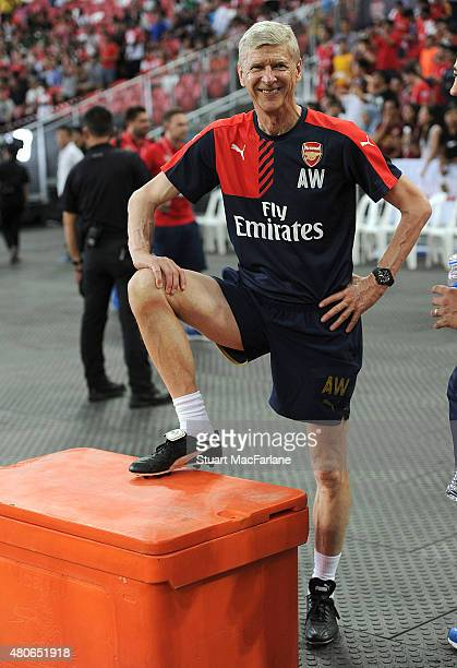 Arsenal manager Arsene Wenger during a training session at the Singapore National Stadium on July 14 2015 in Kallang Photo by Stuart...