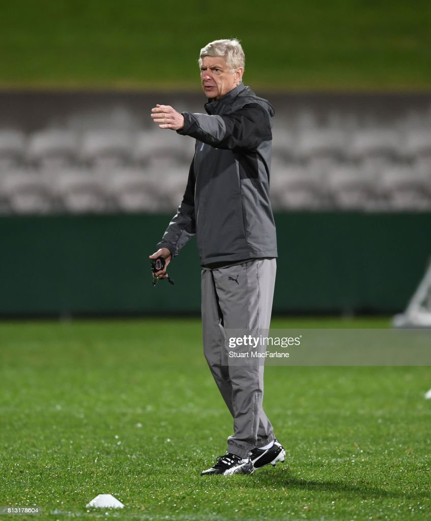Arsenal manager Arsene Wenger during a training session at the Koraragh Oval on July 12, 2017 in Sydney, New South Wales.