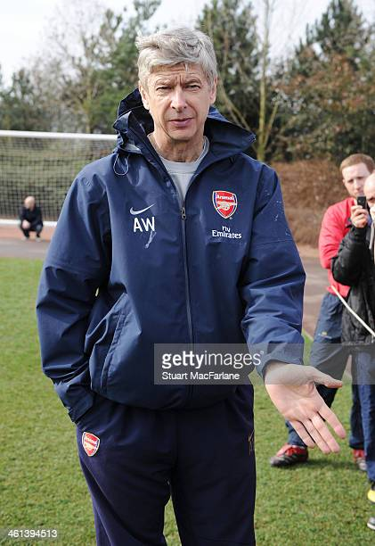 Arsenal manager Arsene Wenger during a training session on March 18 2010 in London England