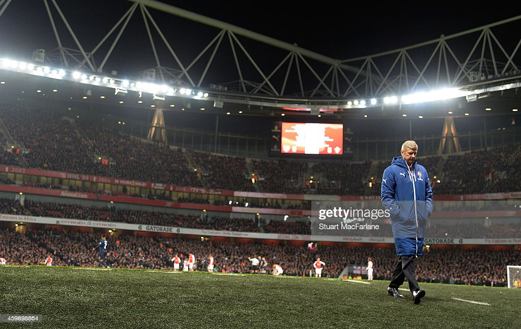 Arsenal manager Arsene Wenger during the Barclays Premier League match between Arsenal and Southampton at Emirates Stadium on December 3, 2014 in London, England.