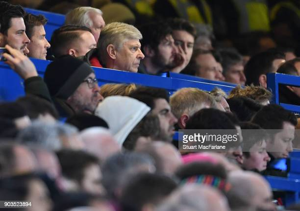 Arsenal manager Arsene Wenger during the Carabao Cup SemiFinal First Leg match between Chelsea and Arsenal at Stamford Bridge on January 10 2018 in...