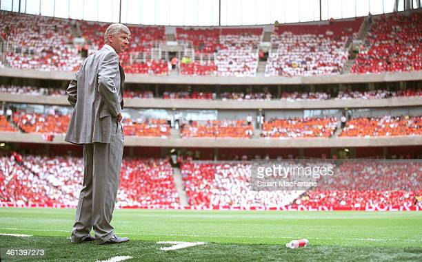 Arsenal Manager Arsene Wenger during the Dennis Bergkamp Testimonial between Arsenal and Ajax the first match at Emirates Stadium on July 26 2006 in...