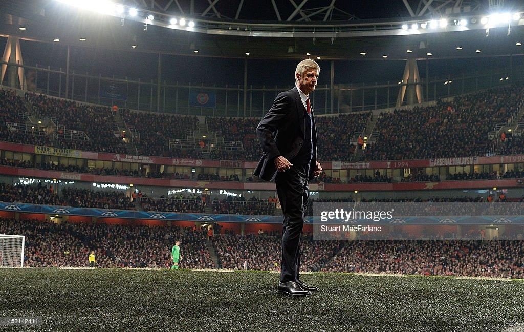 Arsenal manager Arsene Wenger during the match at Emirates Stadium on November 26, 2013 in London, England.
