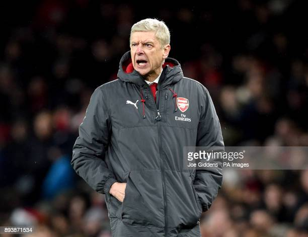 Arsenal manager Arsene Wenger during the Premier League match at the Emirates Stadium London