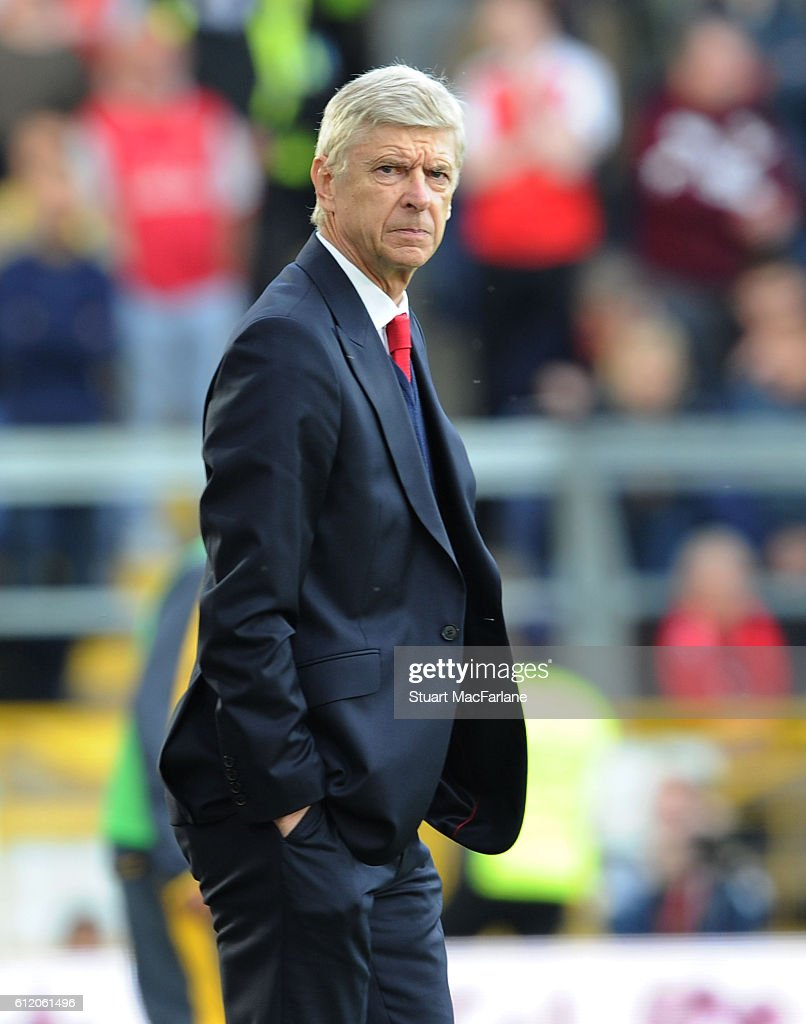 Arsenal manager Arsene Wenger during the Premier League match between Burnley and Arsenal at Turf Moor on October 2, 2016 in Burnley, England.