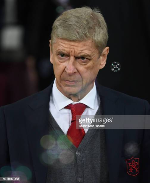 Arsenal manager Arsene Wenger during the Premier League match between West Ham United and Arsenal at London Stadium on December 13 2017 in London...