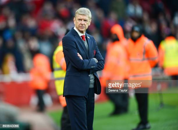 Arsenal Manager Arsene Wenger during the Premier League match between Arsenal and Newcastle United at the Emirates Stadium on December 16 in London...