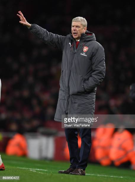 Arsenal manager Arsene Wenger during the Premier League match between Arsenal and Newcastle United at Emirates Stadium on December 16 2017 in London...