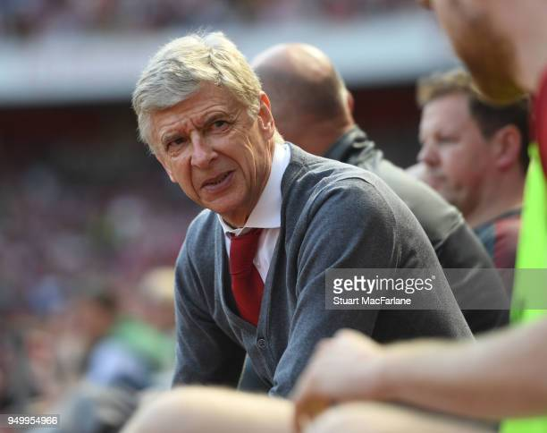 Arsenal manager Arsene Wenger during the Premier League match between Arsenal and West Ham United at Emirates Stadium on April 22 2018 in London...
