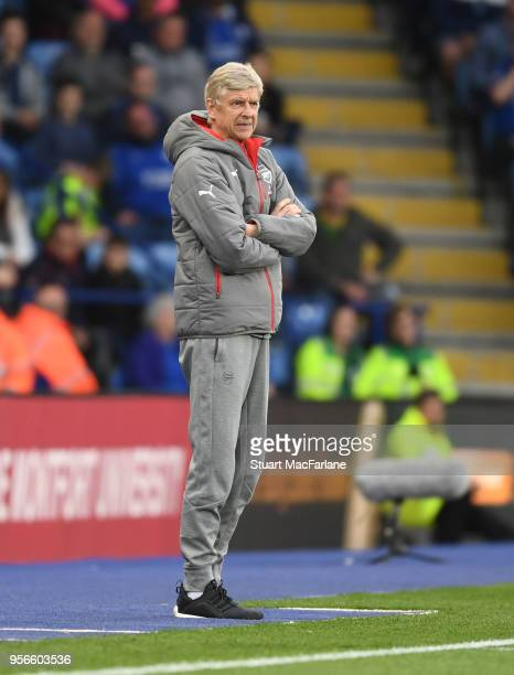 Arsenal manager Arsene Wenger during the Premier League match between Leicester City and Arsenal at The King Power Stadium on May 9 2018 in Leicester...