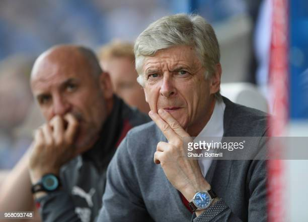 Arsenal manager Arsene Wenger during the Premier League match between Huddersfield Town and Arsenal at John Smith's Stadium on May 13 2018 in...