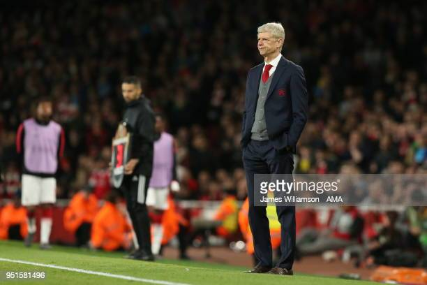 Arsenal manager Arsene Wenger during the UEFA Europa League Semi Final leg one match between Arsenal FC and Atletico Madrid at Emirates Stadium on...