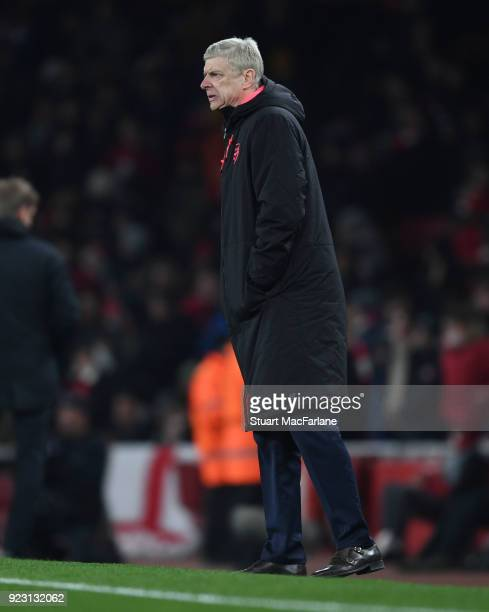 Arsenal manager Arsene Wenger during UEFA Europa League Round of 32 match between Arsenal and Ostersunds FK at the Emirates Stadium on February 22...
