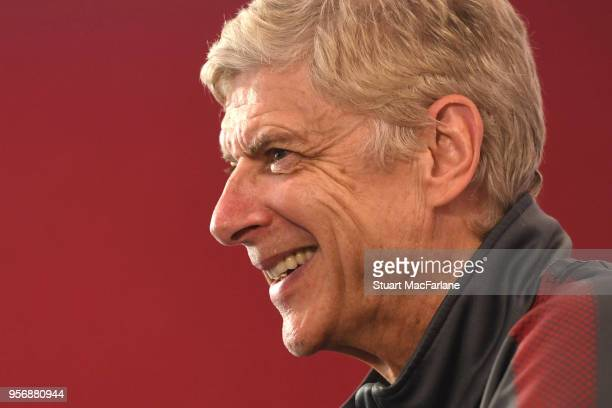 Arsenal manager Arsene Wenger faces the press for the last time at London Colney on May 10 2018 in St Albans England